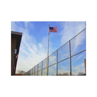 Wide Angle American flag on school yard Canvas Print