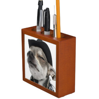 Wide-angle of a Chihuahua with his eyes closed Desk Organizer