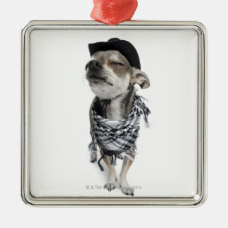 Wide-angle of a Chihuahua with his eyes closed Silver-Colored Square Ornament