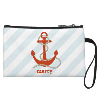 Wide Aqua Striped Nautical-Themed Personalized Wristlet Clutch