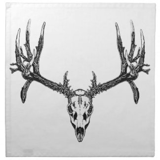 Wide buck skull cloth napkins