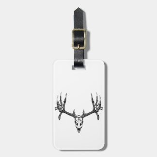 Wide buck skull luggage tag