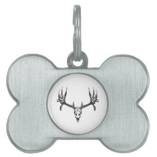 Wide buck skull pet tags