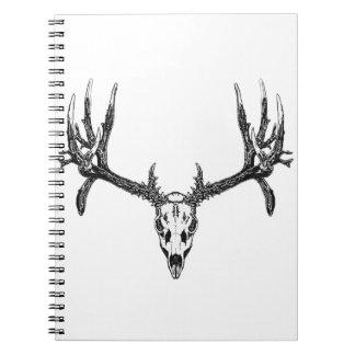 Wide buck skull spiral notebooks