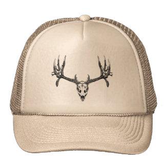 Wide buck skull trucker hat