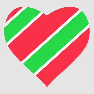 Wide Christmas Stripes Heart Sticker