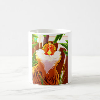 Wide eyed and ready to go chicken coffee mug