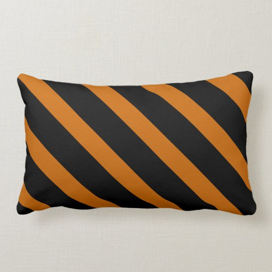 Wide Orange and Black Diagonal Stripes Pattern Lumbar Pillow