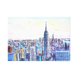 Wide Panorama of Manhattan with New Jersey Canvas Print