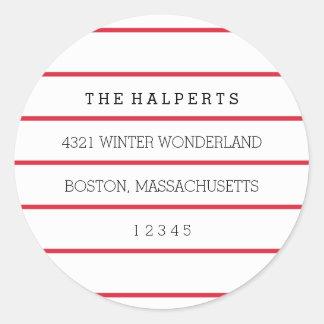 Wide Pinstripes | Red & White | Return Address Classic Round Sticker