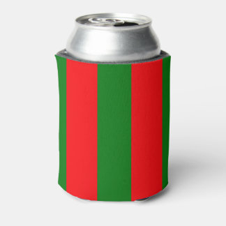 Wide Red and Green Christmas Cabana Stripes Can Cooler