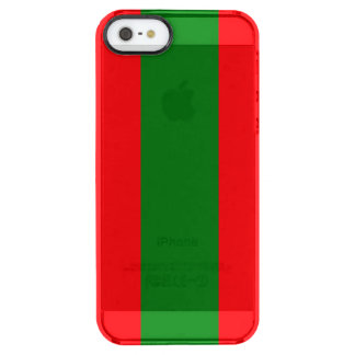 Wide Red and Green Christmas Cabana Stripes Clear iPhone SE/5/5s Case
