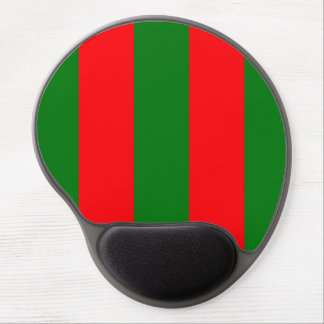 Wide Red and Green Christmas Cabana Stripes Gel Mouse Pad