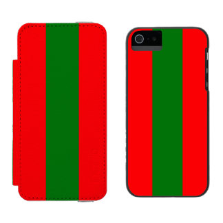 Wide Red and Green Christmas Cabana Stripes Incipio Watson™ iPhone 5 Wallet Case