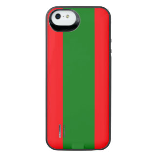 Wide Red and Green Christmas Cabana Stripes iPhone SE/5/5s Battery Case