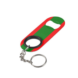 Wide Red and Green Christmas Cabana Stripes Keychain Bottle Opener