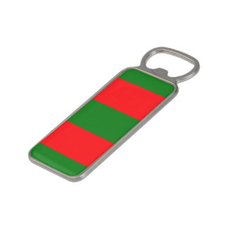 Wide Red and Green Christmas Cabana Stripes Magnetic Bottle Opener