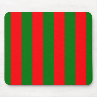 Wide Red and Green Christmas Cabana Stripes Mouse Pad