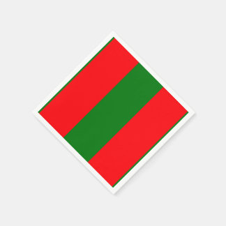 Wide Red and Green Christmas Cabana Stripes Paper Napkin