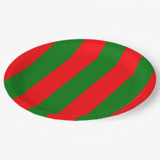 Wide Red and Green Christmas Cabana Stripes Paper Plate