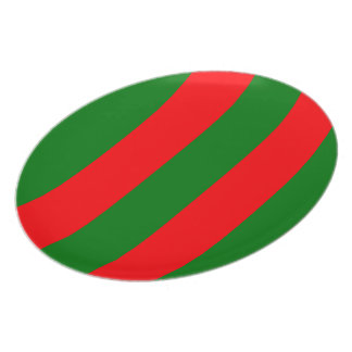 Wide Red and Green Christmas Cabana Stripes Plate