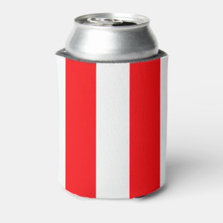 Wide Red and White Christmas Cabana Stripes Can Cooler