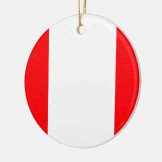 Wide Red and White Christmas Cabana Stripes Ceramic Ornament