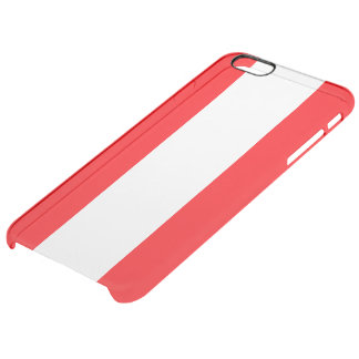 Wide Red and White Christmas Cabana Stripes Clear iPhone 6 Plus Case