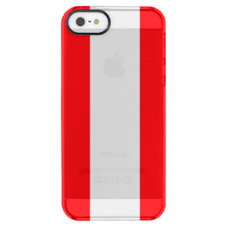Wide Red and White Christmas Cabana Stripes Clear iPhone SE/5/5s Case