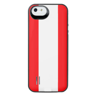 Wide Red and White Christmas Cabana Stripes iPhone SE/5/5s Battery Case