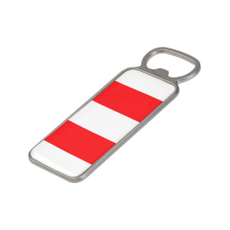 Wide Red and White Christmas Cabana Stripes Magnetic Bottle Opener