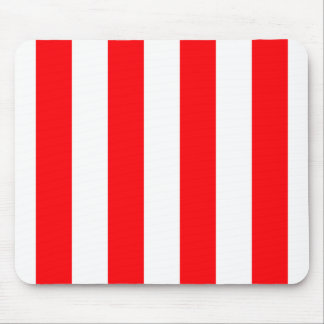 Wide Red and White Christmas Cabana Stripes Mouse Pad