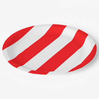 Wide Red and White Christmas Cabana Stripes Paper Plate