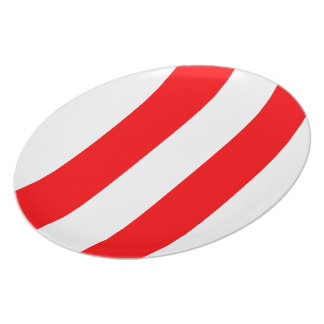 Wide Red and White Christmas Cabana Stripes Plate