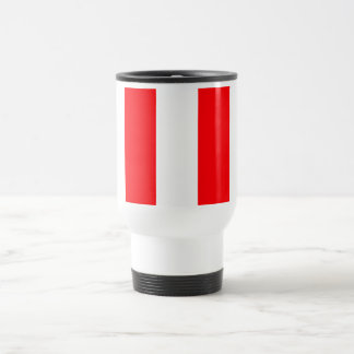 Wide Red and White Christmas Cabana Stripes Travel Mug