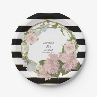 Wide Striped Hydrangea Floral Wreath Hand Painted 7 Inch Paper Plate