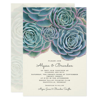 Wide Succulent Border Wedding Invitation