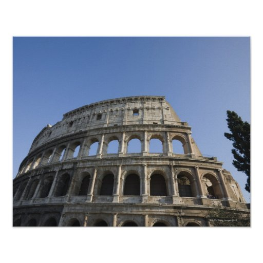 Wide view looking up at the Roman Colosseum with Poster