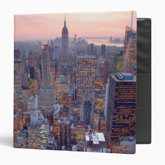 Wide view of Manhattan at sunset 3 Ring Binders