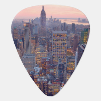 Wide view of Manhattan at sunset Guitar Pick