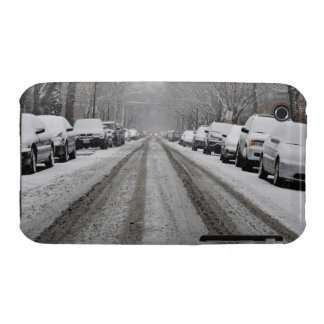 Wide view of unplowed snow covered street in iPhone 3 Case-Mate cases