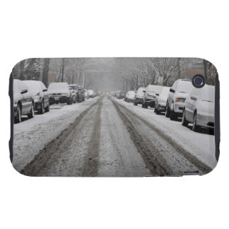 Wide view of unplowed snow covered street in iPhone 3 tough case