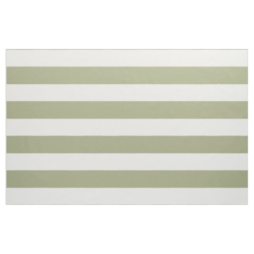 Wide White Stripes on Sage Green Fabric
