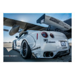 Widebody Nissan GT-R Libertywalk R35 with airplane Poster