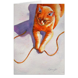 Widget Orange Tabby Playiing String Card