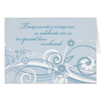 Widower Wedding Anniversary After Loss of Wife Blu Greeting Card