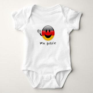 Wie geht's baby shirt, german flag smiley face, baby bodysuit