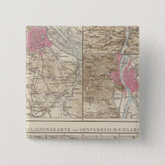 Wien, Prag, BudaPest Map 2 Inch Square Button