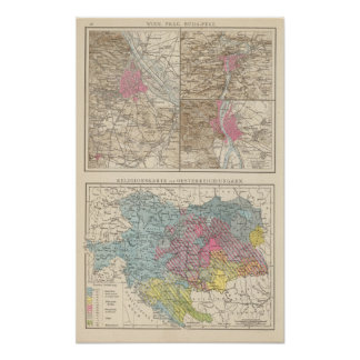 Wien, Prag, BudaPest Map Poster