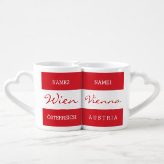Wien - Vienna custom monogram couple's mugs